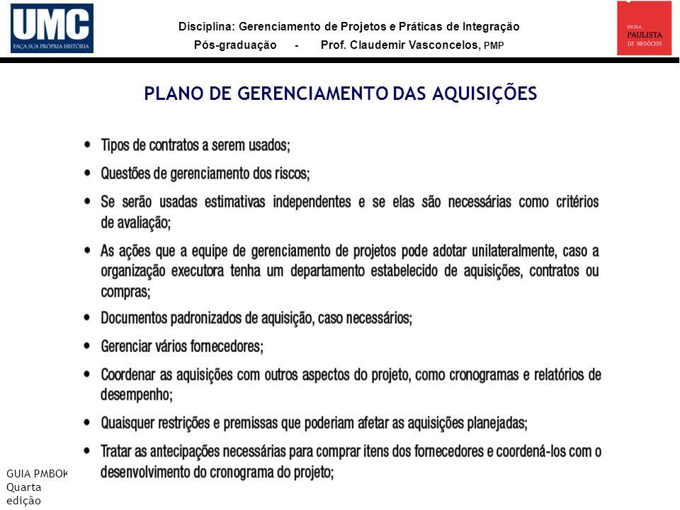Disciplina: Gerenciamento de Projetos e Práticas de Integração Pós-graduação - Prof. Claudemir Vasconcelos, PMP PLANO DE GERENCIAMENTO DAS AQUISIÇÕES