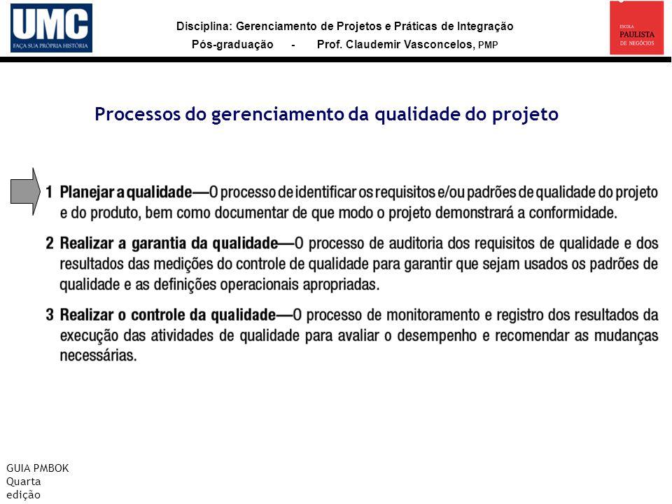 Disciplina: Gerenciamento de Projetos e Práticas de Integração Pós-graduação - Prof. Claudemir Vasconcelos, PMP Processos do gerenciamento da qualidad