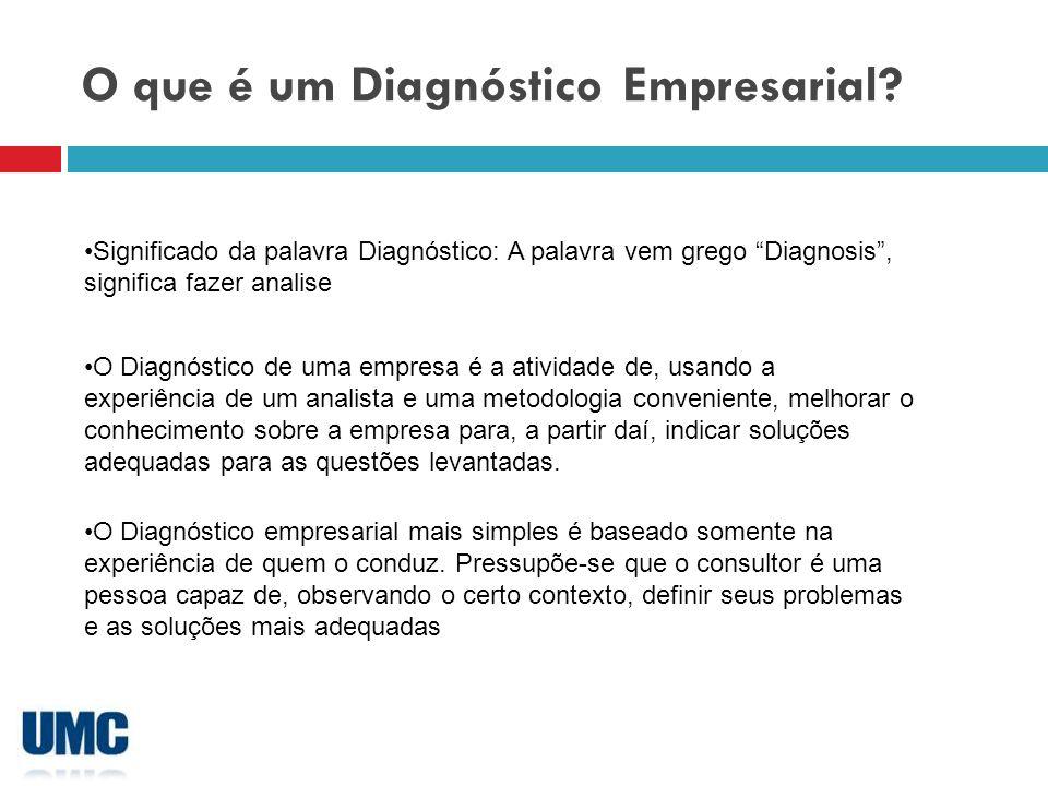 Diagnóstico de estrutura Questões para diagnóstico, algumas questões para elaboração do roteiro de diagnóstico Como: Objeto de análise: Informações gerais, identificação do modelo predominante ou dos modelos utilizados, organização do trabalho.