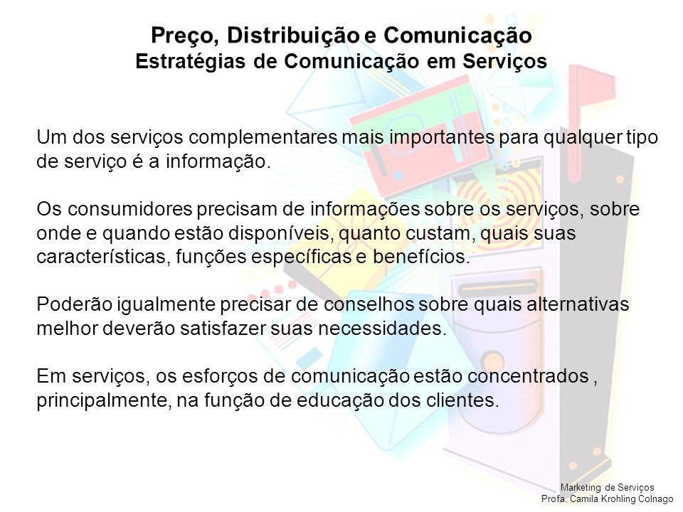 Marketing de Serviços Profa. Camila Krohling Colnago Preço, Distribuição e Comunicação Estratégias de Comunicação em Serviços Um dos serviços compleme