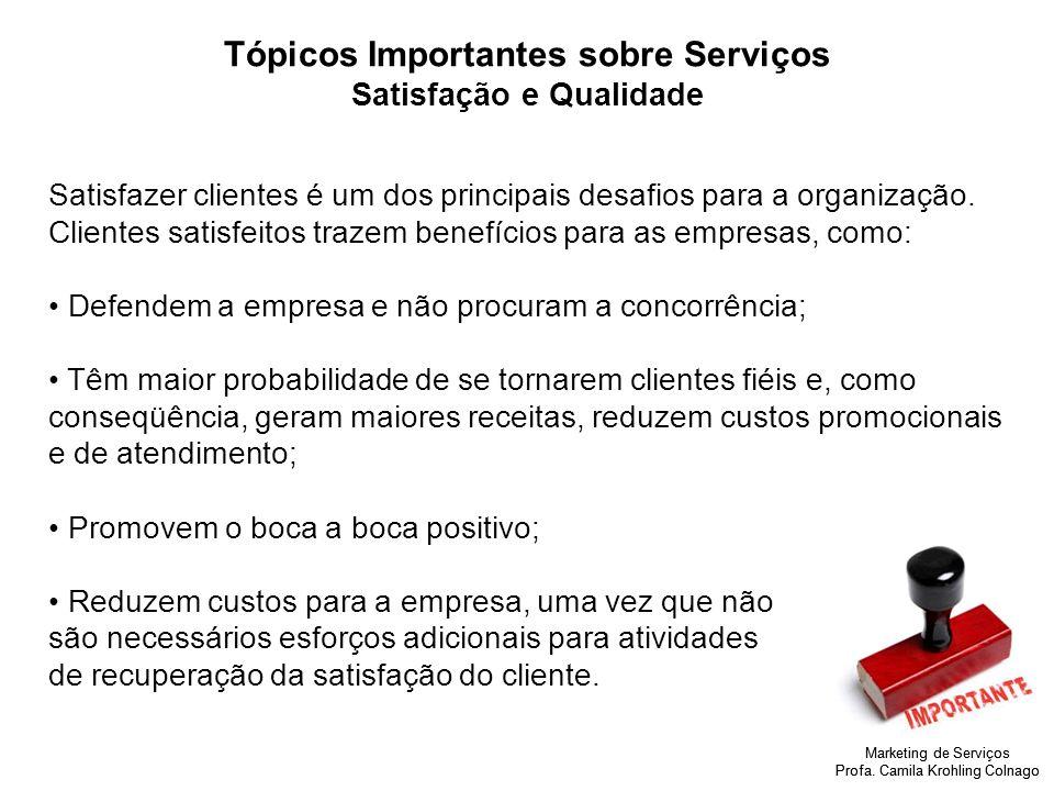 Marketing de Serviços Profa. Camila Krohling Colnago Tópicos Importantes sobre Serviços Satisfação e Qualidade Satisfazer clientes é um dos principais