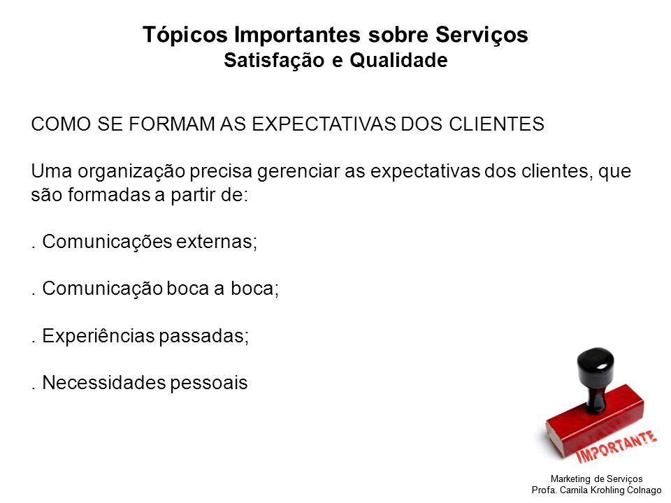 Marketing de Serviços Profa. Camila Krohling Colnago Tópicos Importantes sobre Serviços Satisfação e Qualidade COMO SE FORMAM AS EXPECTATIVAS DOS CLIE