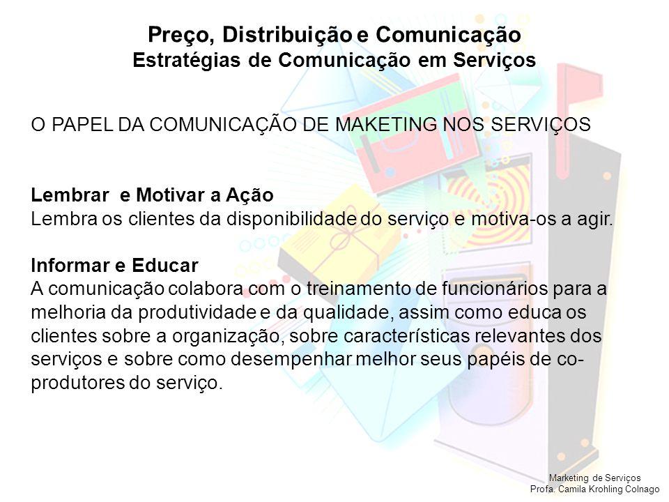 Marketing de Serviços Profa. Camila Krohling Colnago Preço, Distribuição e Comunicação Estratégias de Comunicação em Serviços O PAPEL DA COMUNICAÇÃO D