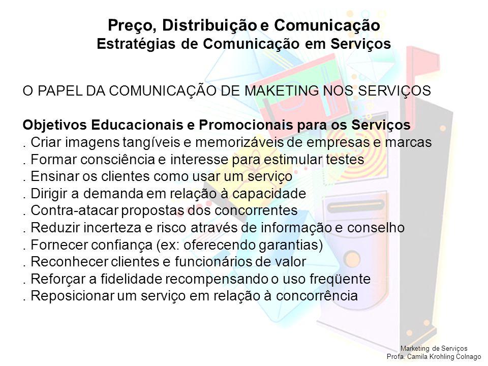 Marketing de Serviços Profa. Camila Krohling Colnago Tópicos Importantes sobre Serviços