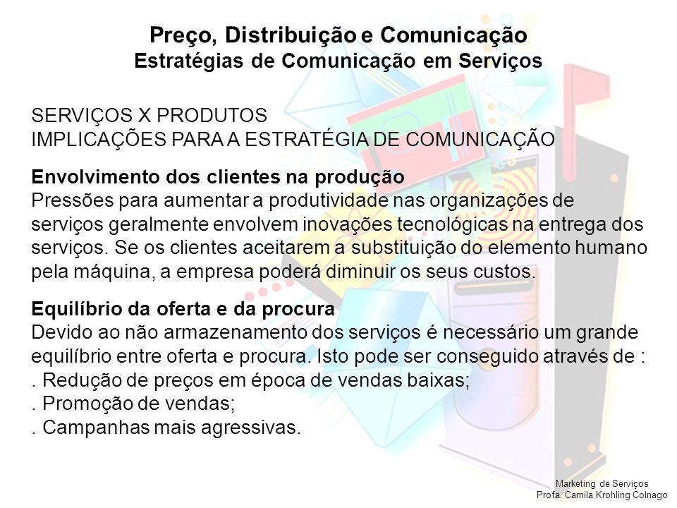 Marketing de Serviços Profa. Camila Krohling Colnago Preço, Distribuição e Comunicação Estratégias de Comunicação em Serviços SERVIÇOS X PRODUTOS IMPL