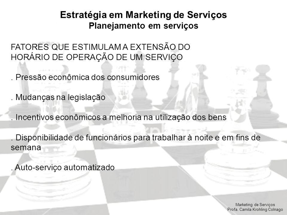 Marketing de Serviços Profa. Camila Krohling Colnago Estratégia em Marketing de Serviços Planejamento em serviços FATORES QUE ESTIMULAM A EXTENSÃO DO