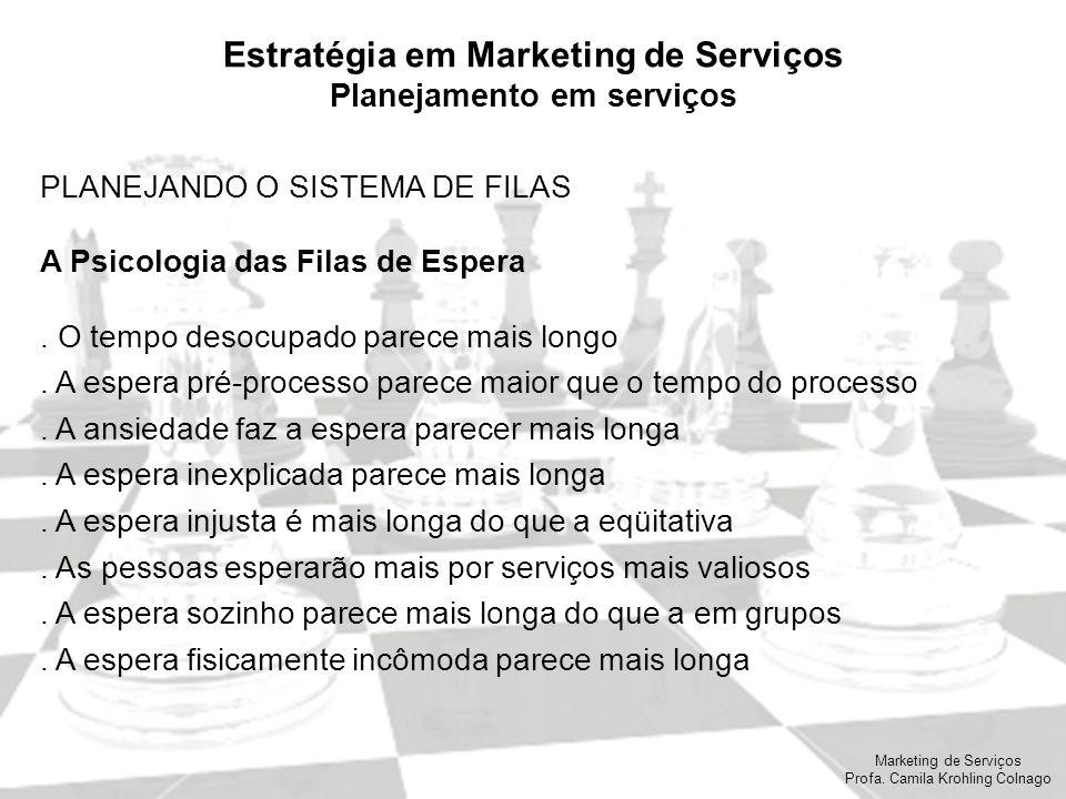 Marketing de Serviços Profa. Camila Krohling Colnago Estratégia em Marketing de Serviços Planejamento em serviços PLANEJANDO O SISTEMA DE FILAS A Psic