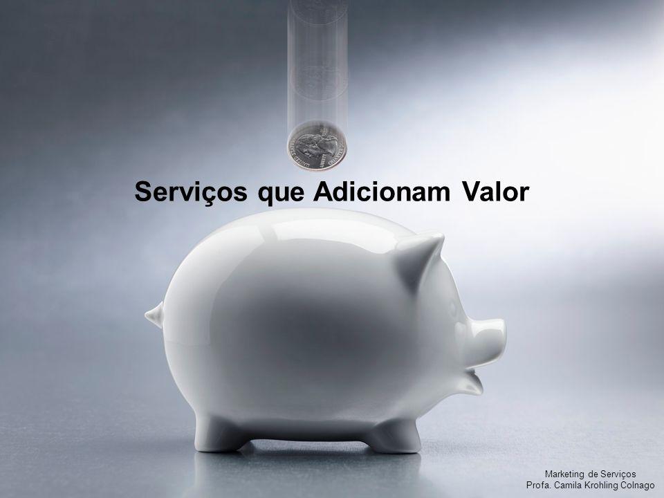 Marketing de Serviços Profa. Camila Krohling Colnago Serviços que Adicionam Valor Marketing de Serviços Profa. Camila Krohling Colnago