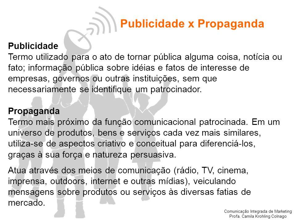 Comunicação Integrada de Marketing Profa. Camila Krohling Colnago Publicidade x Propaganda Publicidade Termo utilizado para o ato de tornar pública al