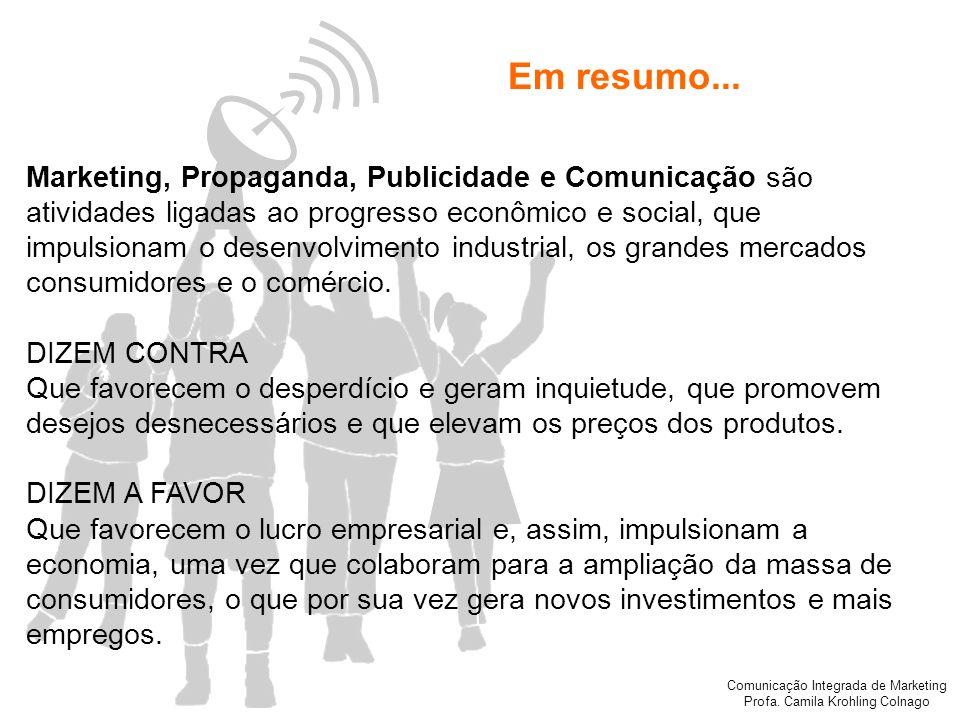 Comunicação Integrada de Marketing Profa. Camila Krohling Colnago Em resumo... Marketing, Propaganda, Publicidade e Comunicação são atividades ligadas
