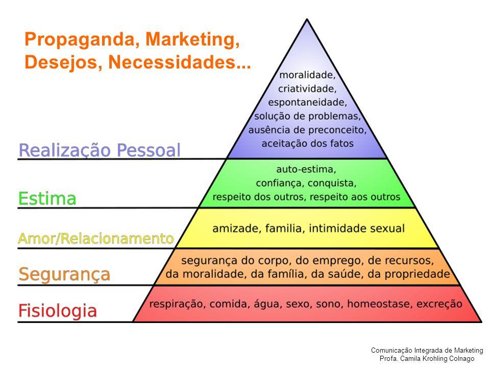 Comunicação Integrada de Marketing Profa. Camila Krohling Colnago Propaganda, Marketing, Desejos, Necessidades...