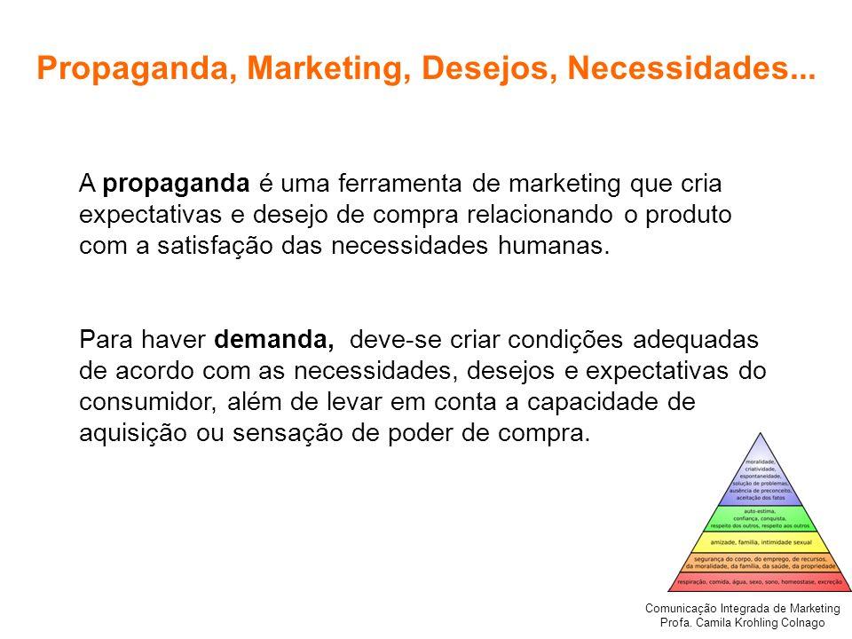Comunicação Integrada de Marketing Profa. Camila Krohling Colnago Propaganda, Marketing, Desejos, Necessidades... A propaganda é uma ferramenta de mar