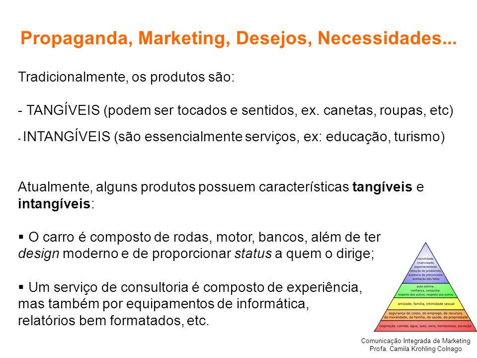 Comunicação Integrada de Marketing Profa. Camila Krohling Colnago Propaganda, Marketing, Desejos, Necessidades... Tradicionalmente, os produtos são: -