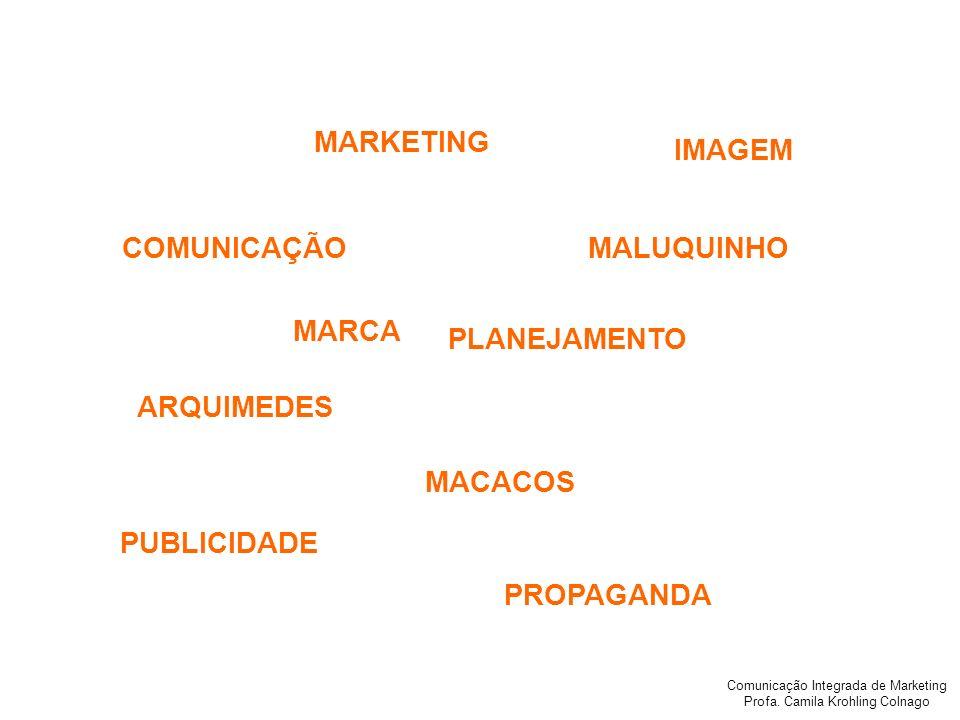 Comunicação Integrada de Marketing Profa. Camila Krohling Colnago IMAGEM COMUNICAÇÃO PLANEJAMENTO MACACOS PUBLICIDADE ARQUIMEDES MALUQUINHO MARKETING