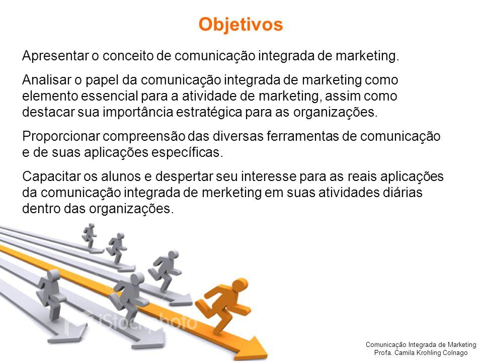Comunicação Integrada de Marketing Profa. Camila Krohling Colnago Objetivos Apresentar o conceito de comunicação integrada de marketing. Analisar o pa