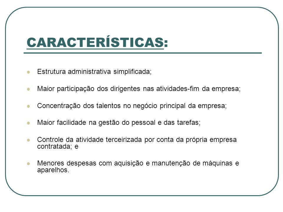 CARACTERÍSTICAS: Estrutura administrativa simplificada; Maior participação dos dirigentes nas atividades-fim da empresa; Concentração dos talentos no