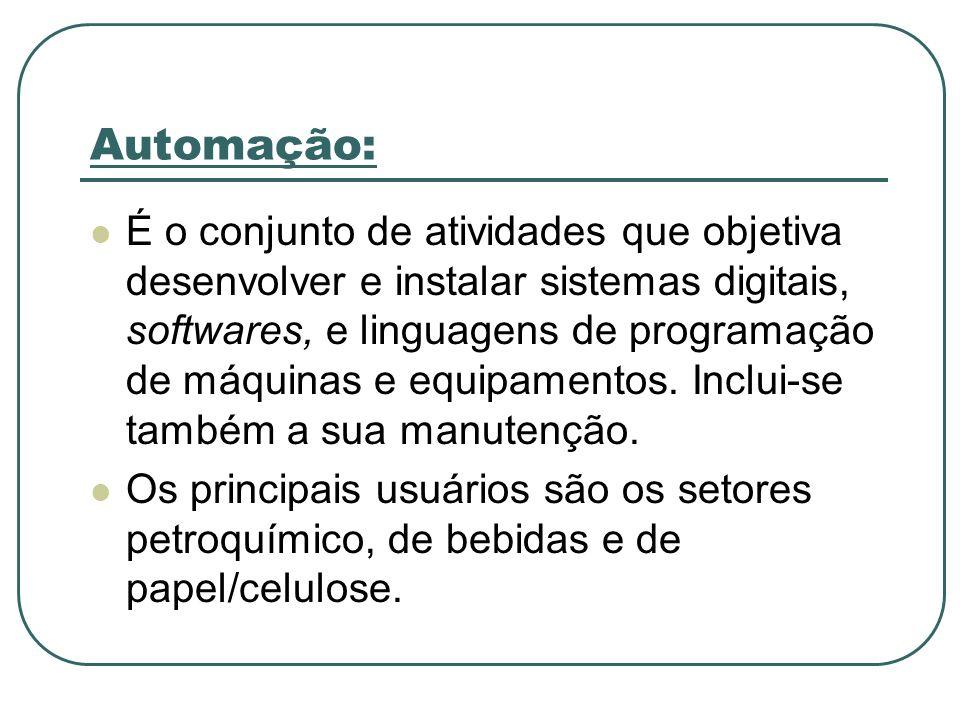 Automação: É o conjunto de atividades que objetiva desenvolver e instalar sistemas digitais, softwares, e linguagens de programação de máquinas e equi