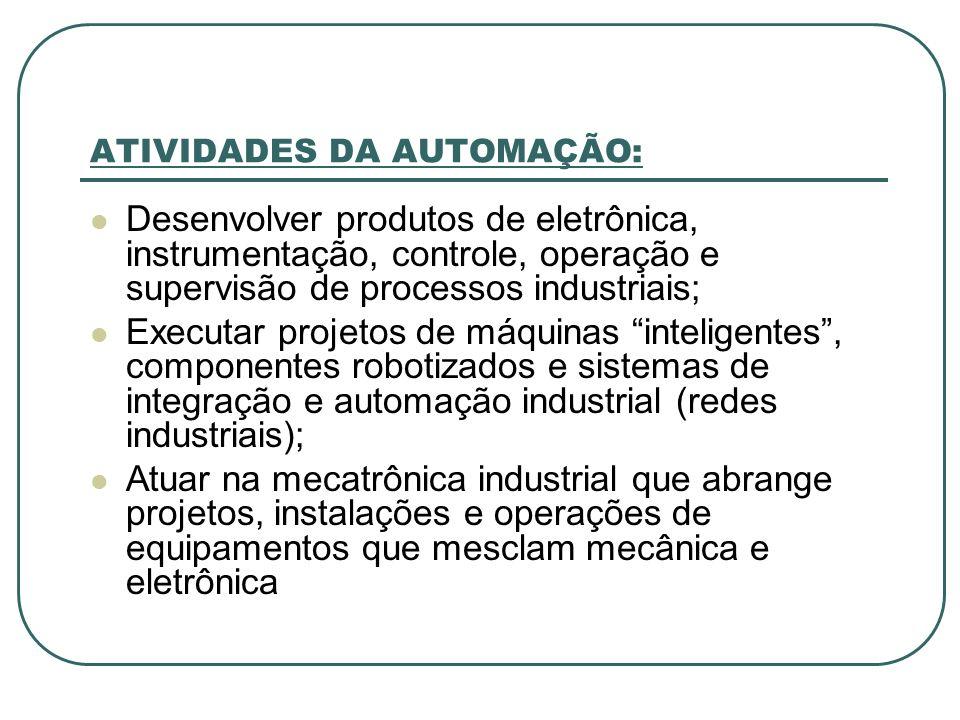 ATIVIDADES DA AUTOMAÇÃO: Desenvolver produtos de eletrônica, instrumentação, controle, operação e supervisão de processos industriais; Executar projet