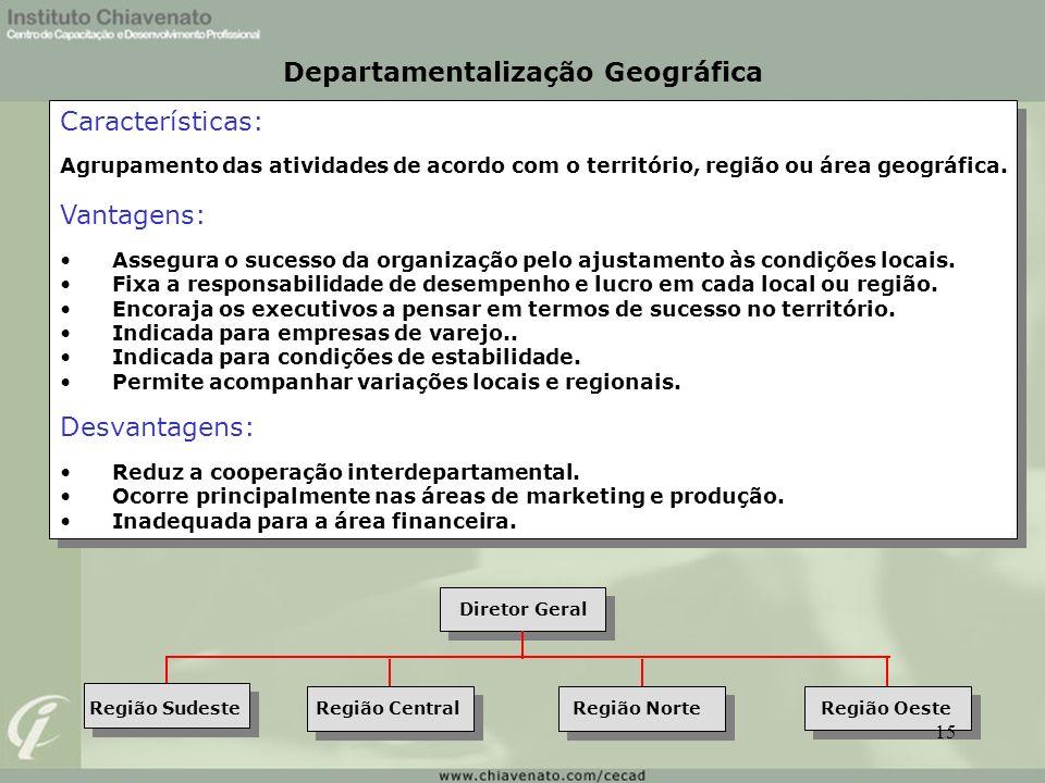 Características: Agrupamento das atividades de acordo com o território, região ou área geográfica. Vantagens: Assegura o sucesso da organização pelo a