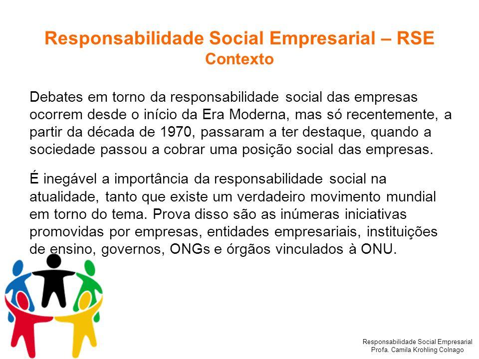 Responsabilidade Social Empresarial Profa. Camila Krohling Colnago Debates em torno da responsabilidade social das empresas ocorrem desde o início da