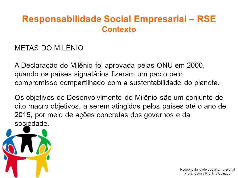 Responsabilidade Social Empresarial Profa. Camila Krohling Colnago METAS DO MILÊNIO A Declaração do Milênio foi aprovada pelas ONU em 2000, quando os