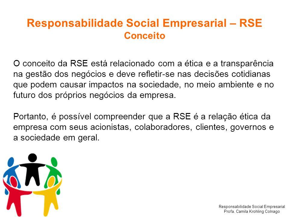 Responsabilidade Social Empresarial Profa. Camila Krohling Colnago Responsabilidade Social Empresarial – RSE Conceito O conceito da RSE está relaciona