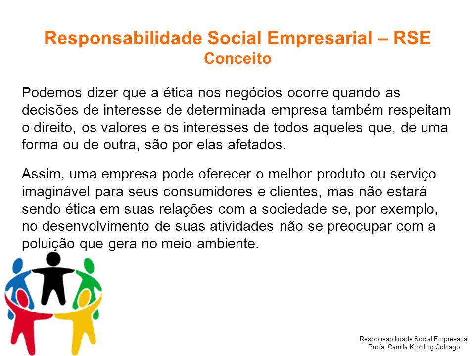 Responsabilidade Social Empresarial Profa. Camila Krohling Colnago Responsabilidade Social Empresarial – RSE Conceito Podemos dizer que a ética nos ne