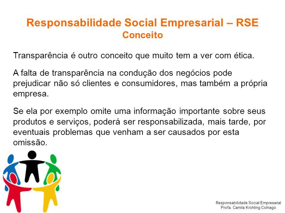 Responsabilidade Social Empresarial Profa. Camila Krohling Colnago Responsabilidade Social Empresarial – RSE Conceito Transparência é outro conceito q