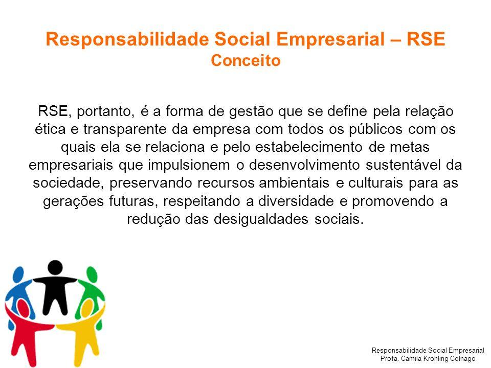 Responsabilidade Social Empresarial Profa. Camila Krohling Colnago Responsabilidade Social Empresarial – RSE Conceito RSE, portanto, é a forma de gest