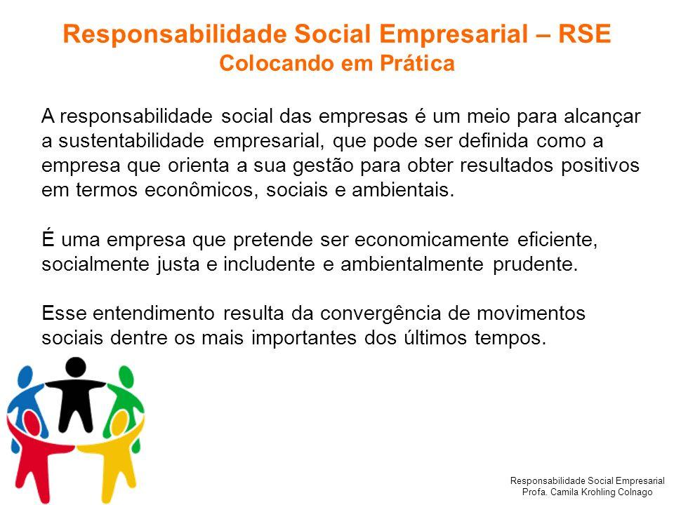 Responsabilidade Social Empresarial Profa. Camila Krohling Colnago Responsabilidade Social Empresarial – RSE Colocando em Prática A responsabilidade s