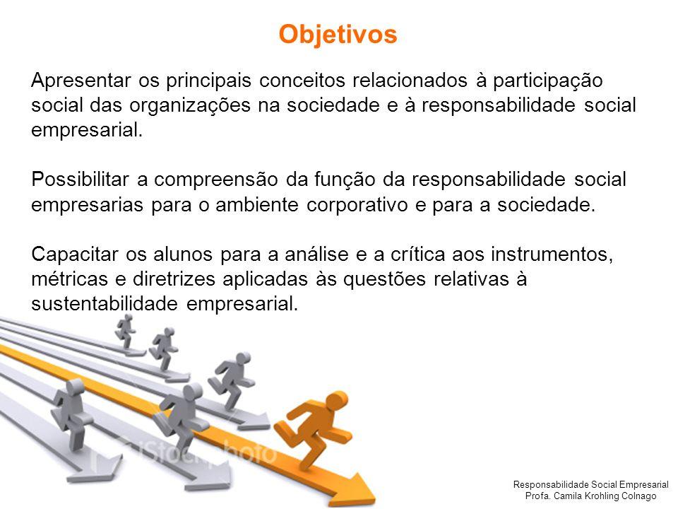 Responsabilidade Social Empresarial Profa. Camila Krohling Colnago Objetivos Apresentar os principais conceitos relacionados à participação social das
