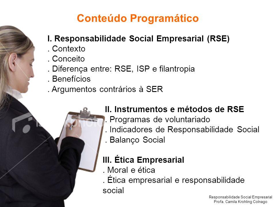 Responsabilidade Social Empresarial Profa. Camila Krohling Colnago I. Responsabilidade Social Empresarial (RSE). Contexto. Conceito. Diferença entre: