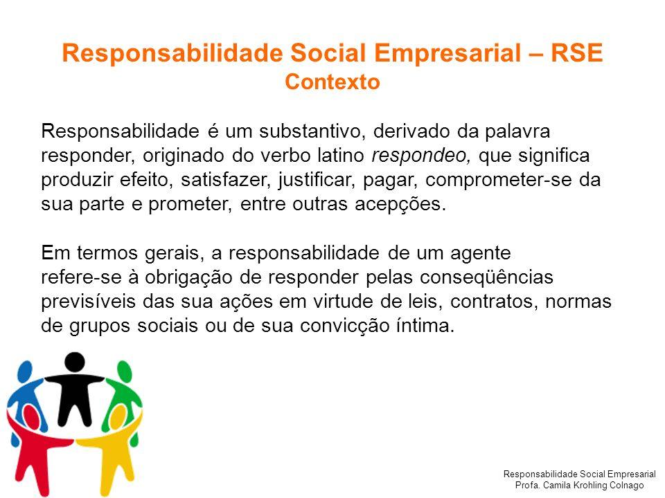 Responsabilidade Social Empresarial Profa. Camila Krohling Colnago Responsabilidade Social Empresarial – RSE Contexto Responsabilidade é um substantiv