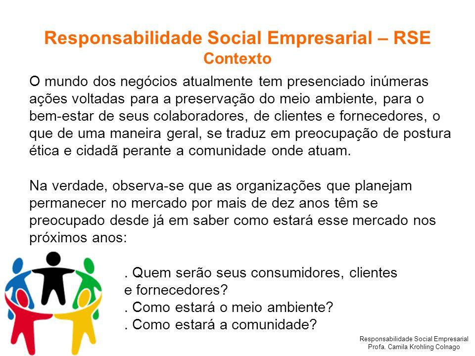 Responsabilidade Social Empresarial Profa. Camila Krohling Colnago O mundo dos negócios atualmente tem presenciado inúmeras ações voltadas para a pres