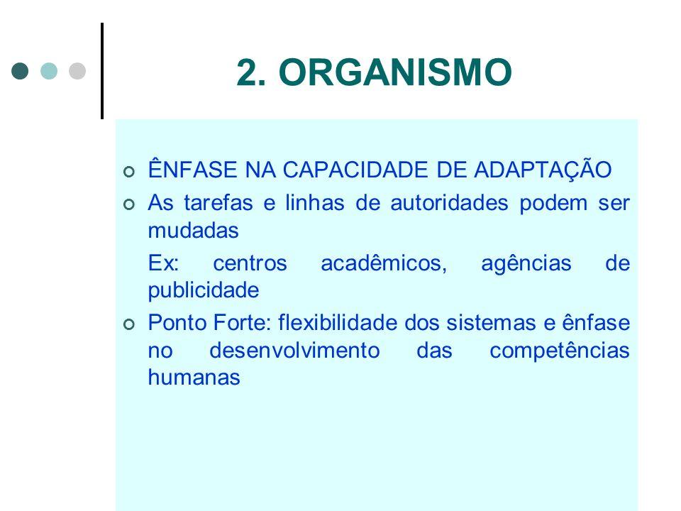 2. ORGANISMO ÊNFASE NA CAPACIDADE DE ADAPTAÇÃO As tarefas e linhas de autoridades podem ser mudadas Ex: centros acadêmicos, agências de publicidade Po