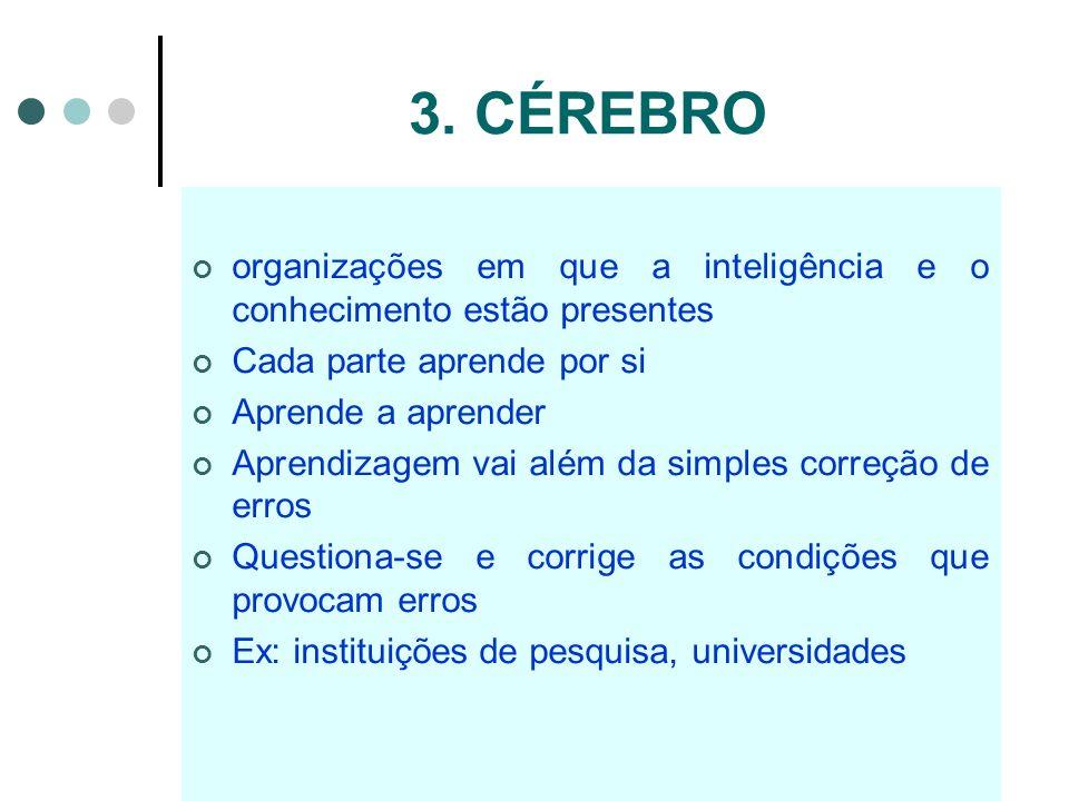 3. CÉREBRO organizações em que a inteligência e o conhecimento estão presentes Cada parte aprende por si Aprende a aprender Aprendizagem vai além da s