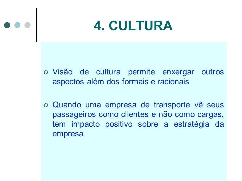 4. CULTURA Visão de cultura permite enxergar outros aspectos além dos formais e racionais Quando uma empresa de transporte vê seus passageiros como cl