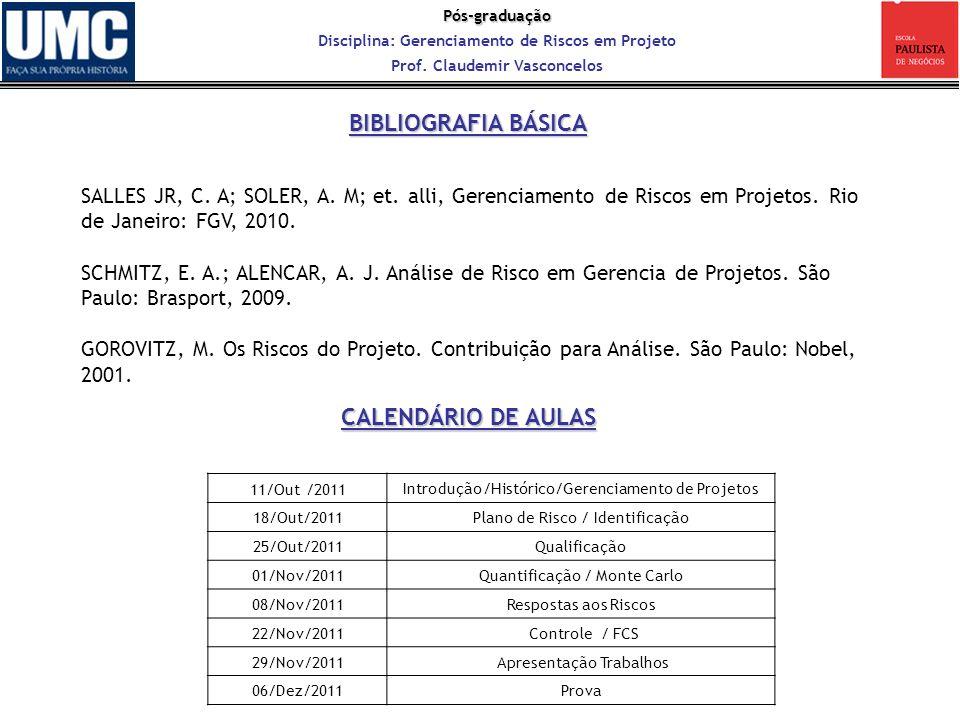 Pós-graduação Disciplina: Gerenciamento de Riscos em Projeto Prof. Claudemir Vasconcelos SALLES JR, C. A; SOLER, A. M; et. alli, Gerenciamento de Risc