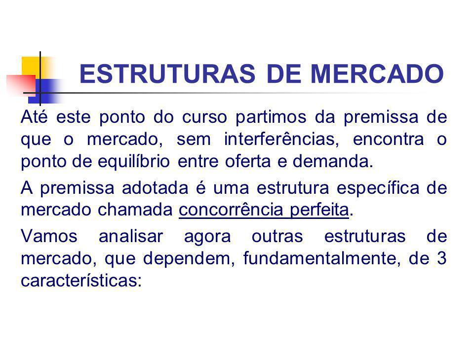 ESTRUTURAS DE MERCADO Até este ponto do curso partimos da premissa de que o mercado, sem interferências, encontra o ponto de equilíbrio entre oferta e