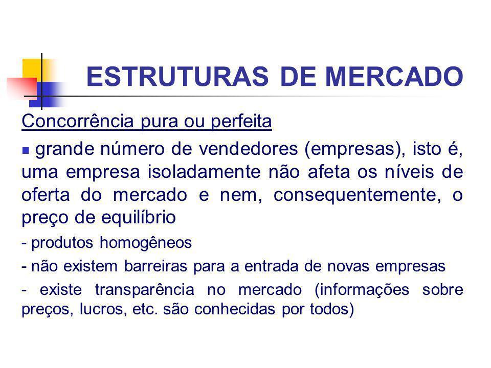 ESTRUTURAS DE MERCADO Concorrência pura ou perfeita grande número de vendedores (empresas), isto é, uma empresa isoladamente não afeta os níveis de of