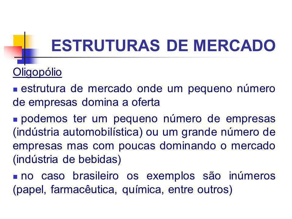 ESTRUTURAS DE MERCADO Oligopólio estrutura de mercado onde um pequeno número de empresas domina a oferta podemos ter um pequeno número de empresas (in
