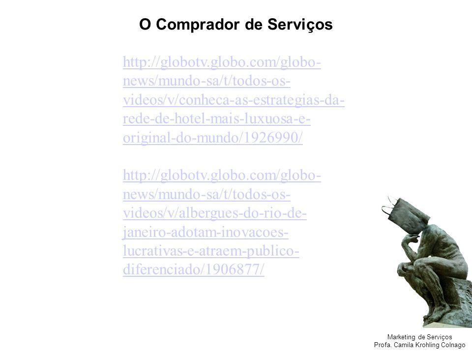 Marketing de Serviços Profa. Camila Krohling Colnago O Comprador de Serviços http://globotv.globo.com/globo- news/mundo-sa/t/todos-os- videos/v/conhec