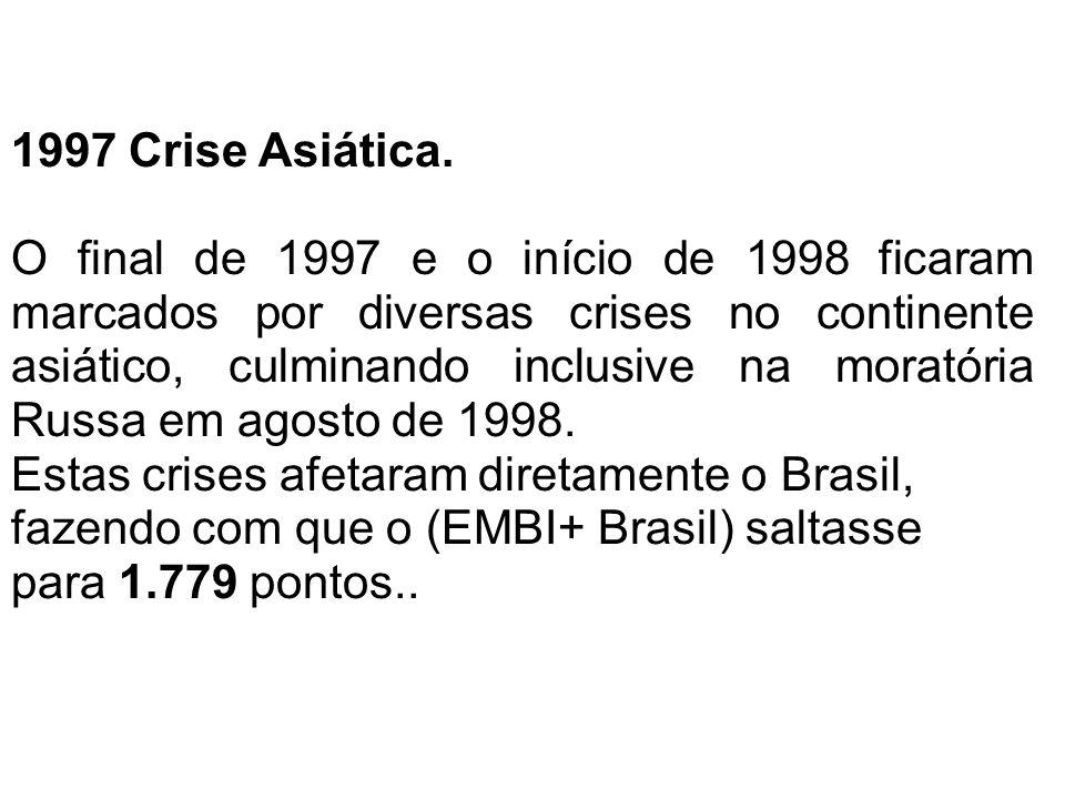 1997 Crise Asiática. O final de 1997 e o início de 1998 ficaram marcados por diversas crises no continente asiático, culminando inclusive na moratória