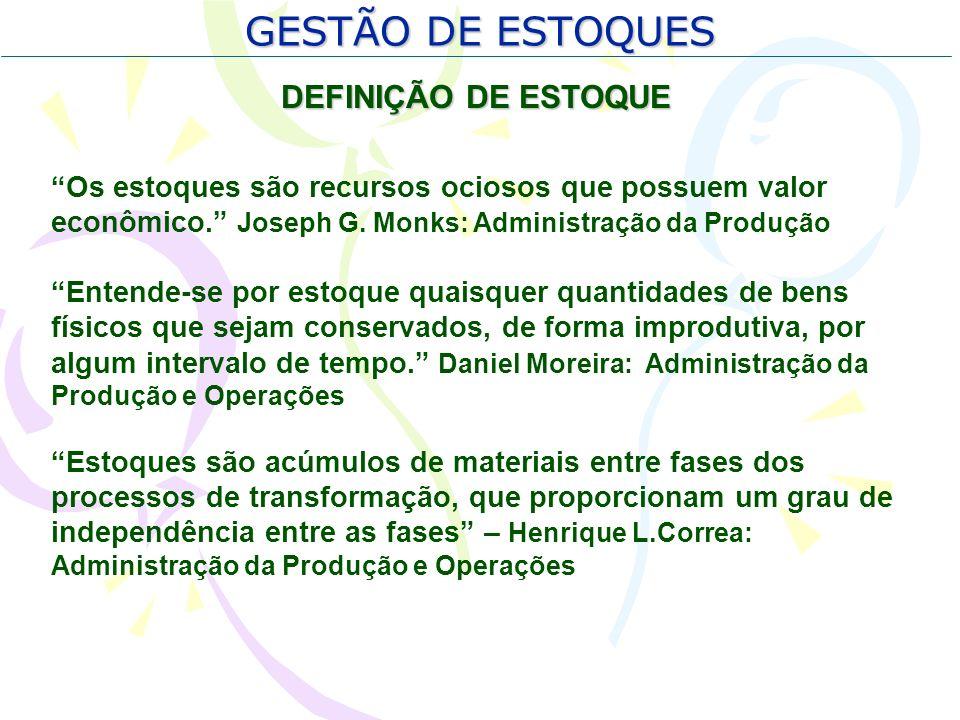 GESTÃO DE ESTOQUES DEFINIÇÃO DE ESTOQUE Os estoques são recursos ociosos que possuem valor econômico. Joseph G. Monks: Administração da Produção Enten