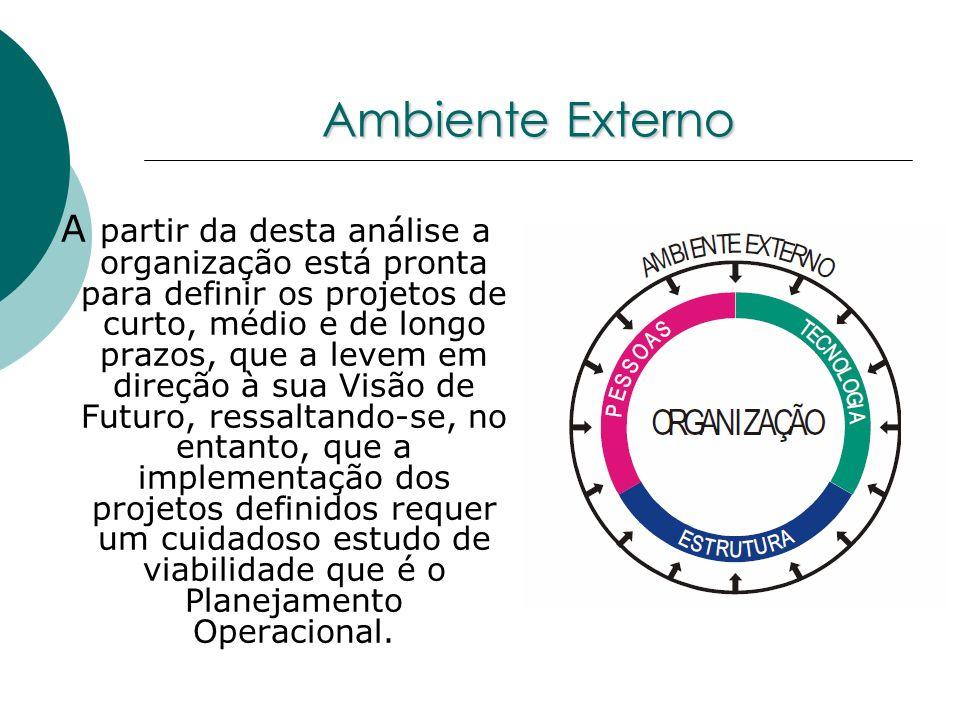 Ambiente Externo A partir da desta análise a organização está pronta para definir os projetos de curto, médio e de longo prazos, que a levem em direçã