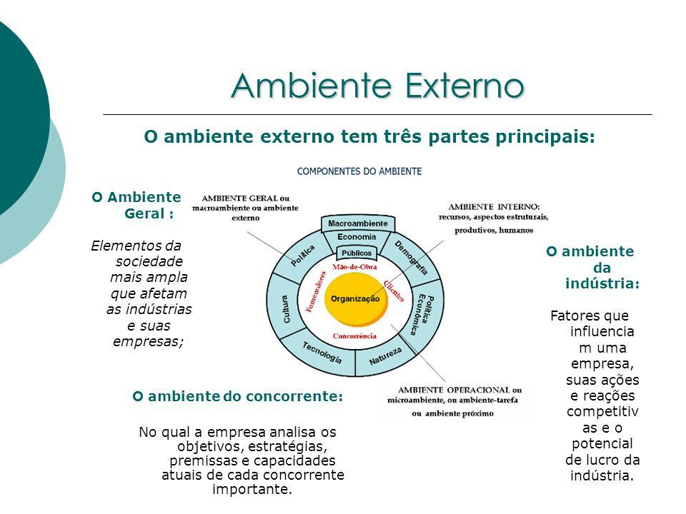 Ambiente Externo O ambiente externo tem três partes principais: O Ambiente Geral : Elementos da sociedade mais ampla que afetam as indústrias e suas e
