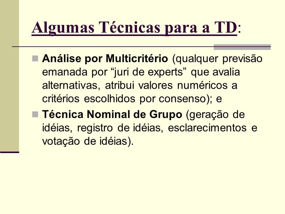 Algumas Técnicas para a TD: Análise por Multicritério (qualquer previsão emanada por juri de experts que avalia alternativas, atribui valores numérico
