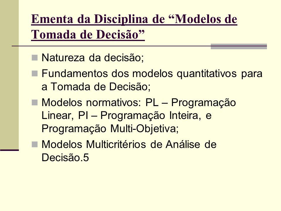 Ementa da Disciplina de Modelos de Tomada de Decisão Natureza da decisão; Fundamentos dos modelos quantitativos para a Tomada de Decisão; Modelos norm