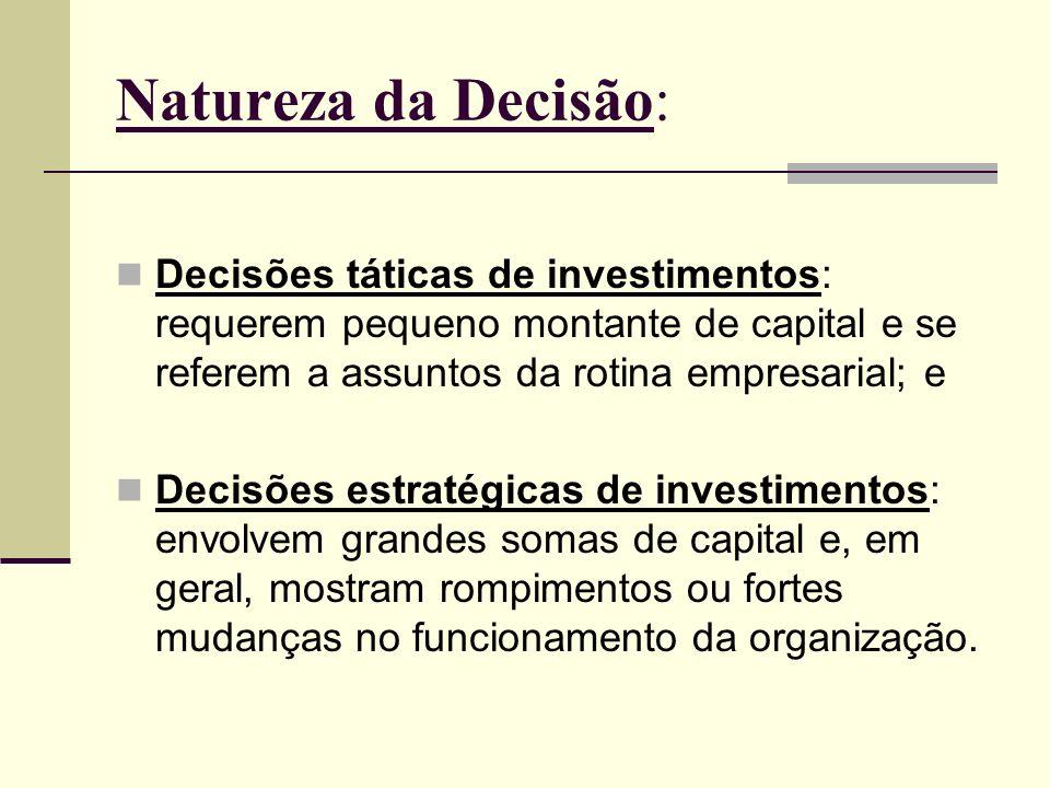 Natureza da Decisão: Decisões táticas de investimentos: requerem pequeno montante de capital e se referem a assuntos da rotina empresarial; e Decisões