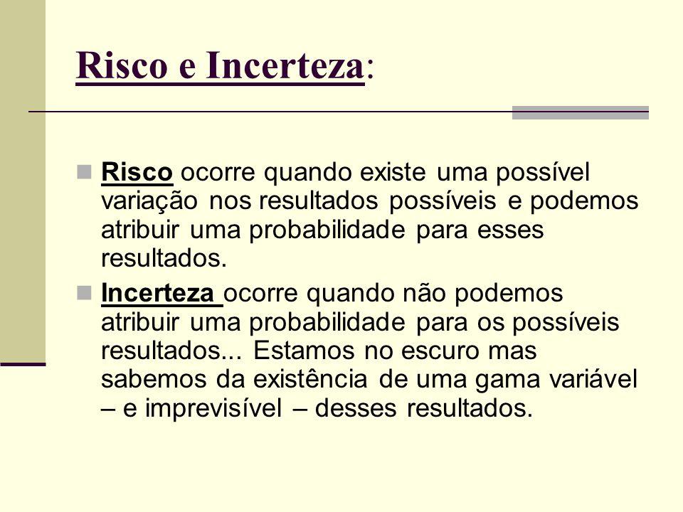 Risco e Incerteza: Risco ocorre quando existe uma possível variação nos resultados possíveis e podemos atribuir uma probabilidade para esses resultado